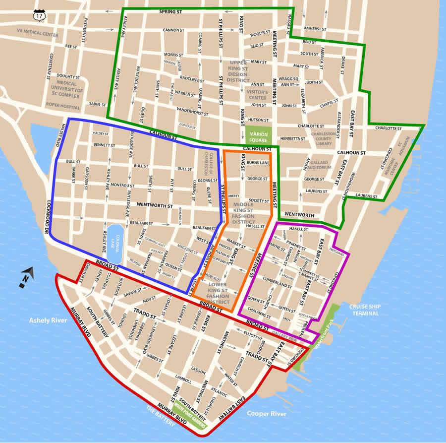 Fun things to do in Charleston : Historic District Map of Charleston.