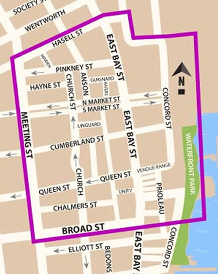 Fun things to do in Charleston : Map of French Quarter in Charleston SC.
