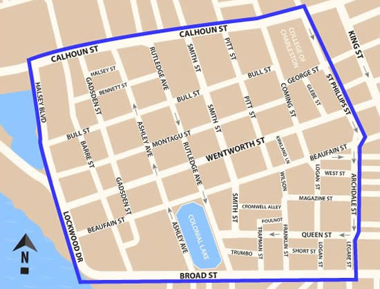 Fun things to do in Charleston : Map of Harleston Village District in Charleston SC.