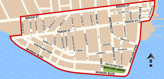 Fun things to do in Charleston : Map of South Of Broad District in Charleston SC.