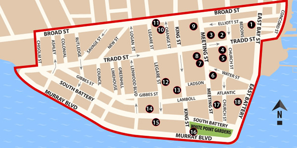 Fun things to do in Charleston : Map of South of Broad Map..