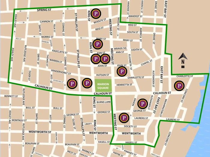 Fun things to do in Charleston : The Boroughs Parking Map.